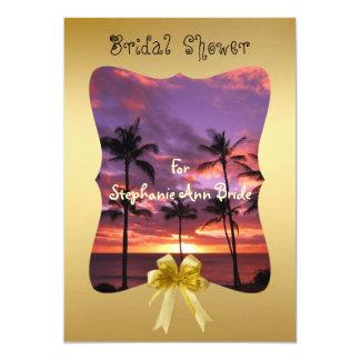 Tropische Sonnenuntergang-Polterabend-Karte 12,7 X 17,8 Cm Einladungskarte