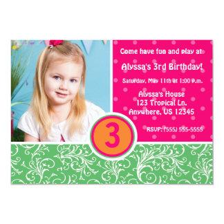 Tropische Spaß-Mädchen-Geburtstags-Einladung
