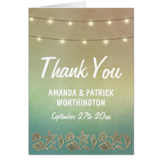 Tropische Starfish und Seashell-Hochzeit danken Mitteilungskarte