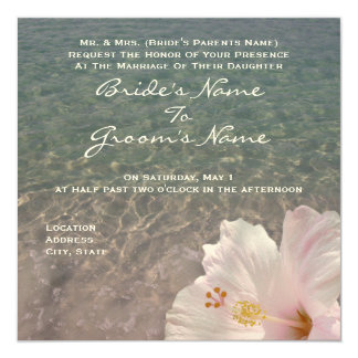 Tropische Strand-Hochzeit in Urlaubsorts-Einladung Quadratische 13,3 Cm Einladungskarte