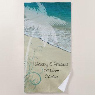 Tropische Strand-Hochzeit Strandtuch