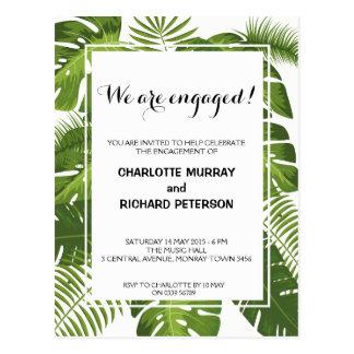 Tropische Verlobungs-Party Einladungspostkarte Postkarten