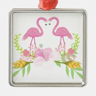 TROPISCHE Verzierung der Flamingos Quadratisches Silberfarbenes Ornament