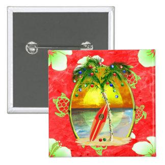 Tropische Weihnachtspalme Quadratischer Button 5,1 Cm