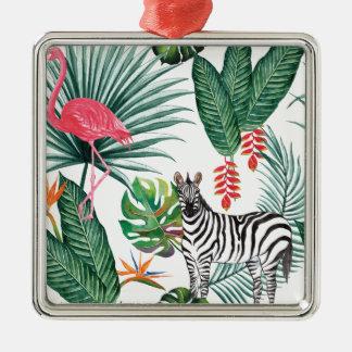 Tropischer Aquarell-Druck-Zebra und Flamingo Quadratisches Silberfarbenes Ornament