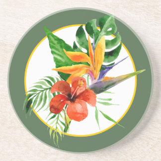 Tropischer BlumenAquarell-Paradiesvogel Getränkeuntersetzer