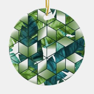 Tropischer Kubikeffekt-Bananen-Blätter-Entwurf Keramik Ornament
