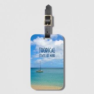 Tropischer Paradies-Strand u. Yacht Kofferanhänger