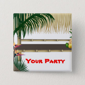Tropischer Party Tiki Quadratischer Button 5,1 Cm