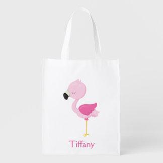 Tropischer rosa Flamingo Wiederverwendbare Einkaufstasche