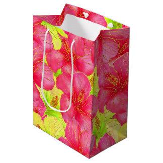 Tropischer Sommer-Glitter Medium Geschenktüte