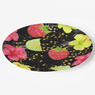 Tropischer Sommer-Glitter Pappteller 22,9 Cm