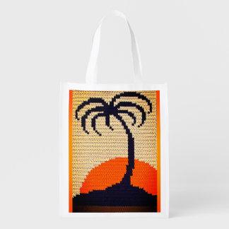 Tropischer Sonnenaufgang-Palme-Häkelarbeit-Druck Einkaufstasche
