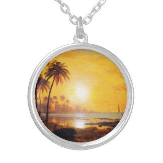 Tropischer Sonnenuntergang mit Halskette Mit Rundem Anhänger