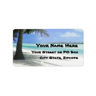 Tropischer Strand Adressaufkleber