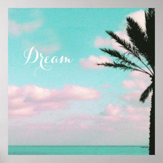 Tropischer Strand, Traum, Meerblick, Wolken, Palme Poster