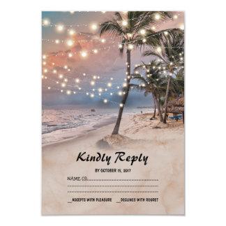 Tropischer Vintager Strand beleuchtet Hochzeit Karte