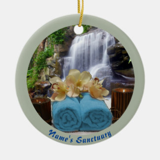 Tropischer Wasserfall-Kreis-blaues Rundes Keramik Ornament