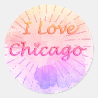 """Tropischer Watercolor """"ich Liebe Chicago """" Runder Aufkleber"""