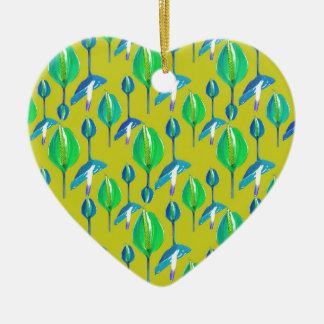 Tropisches Blumenmuster Keramik Herz-Ornament