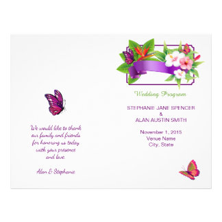 Tropisches Blumenschmetterlings-Hochzeits-Programm Flyer