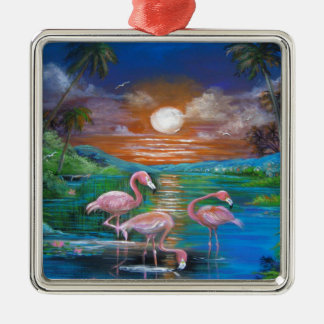 Tropisches Famingos Silbernes Ornament
