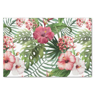 Tropisches Hibiskus-Blumen-Laubmuster Seidenpapier