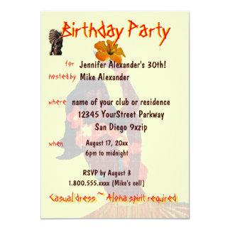 Tropisches Hula Mädchen-Geburtstags-Party 12,7 X 17,8 Cm Einladungskarte
