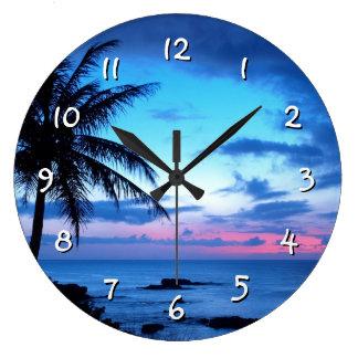 Tropisches Insel-Strand-Ozean-Rosa-blaues Große Wanduhr