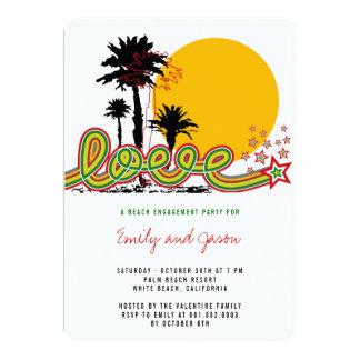 Tropisches Liebe-Palme-Verlobungs-Party laden ein 12,7 X 17,8 Cm Einladungskarte