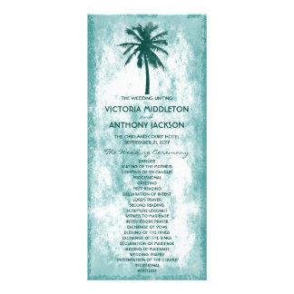 Tropisches Palme-Strand-Hochzeits-Programm Werbekarte