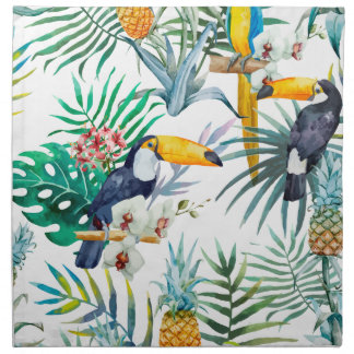 Tropisches Sommer Ananas-Papageien-Vogel-Aquarell Stoffserviette