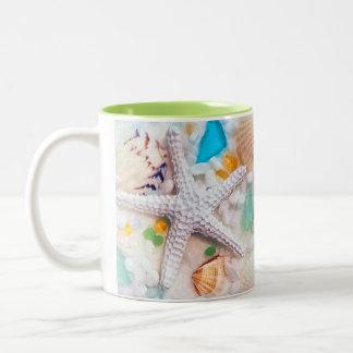 Tropisches Strand-Thema Zweifarbige Tasse