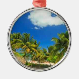 Tropisches Strandurlaubsort, Belize Rundes Silberfarbenes Ornament