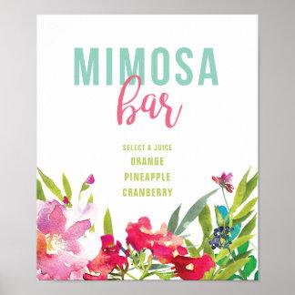 Tropisches Themed Mimosen-Bar-Zeichen Poster