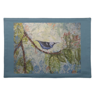 Tropisches Vogelwatercolor-Kunst-Blau-Tischset Tischset