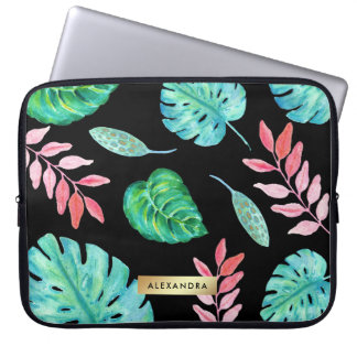 Tropisches Watercolor-Blätter auf Schwarzem mit Computer Schutzhülle