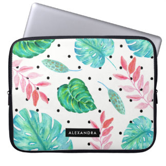 Tropisches Watercolor-Blätter mit schwarzen Laptop Sleeve