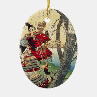 Tsukioka Yoshitoshi - Yoshitsune und Benkei Keramik Ornament