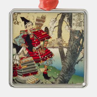 Tsukioka Yoshitoshi - Yoshitsune und Benkei Silbernes Ornament