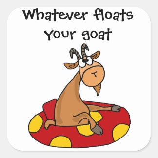 TU lustig, was auch immer Ihren Ziegen-Cartoon Quadratischer Aufkleber
