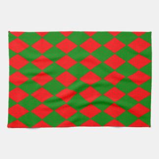 Tuch-- rote u. grüne Diamant-Formen der Küchen-/T Geschirrtuch