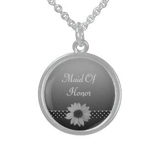 Tupfen-Gänseblümchen-graue u. schwarze Hochzeit Sterling Silberkette