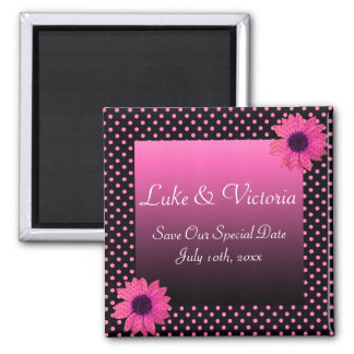 Tupfen-Gänseblümchen-Rosa-Hochzeit Quadratischer Magnet
