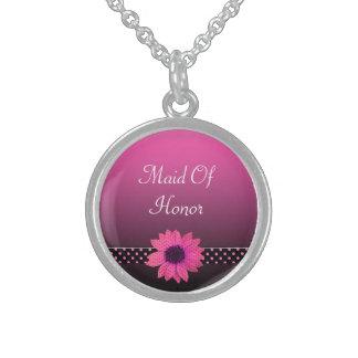 Tupfen-Gänseblümchen-Rosa-Hochzeit Sterling Silberkette