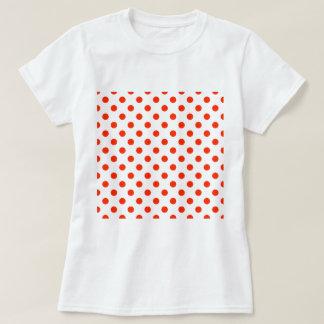 Tupfen groß - helles Rot auf Weiß T-Shirt