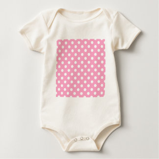 Tupfen groß - Weiß auf Gartennelken-Rosa Baby Strampler