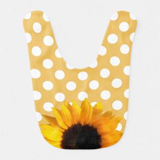 Tupfen und Sonnenblume-Baby-Schellfisch Lätzchen