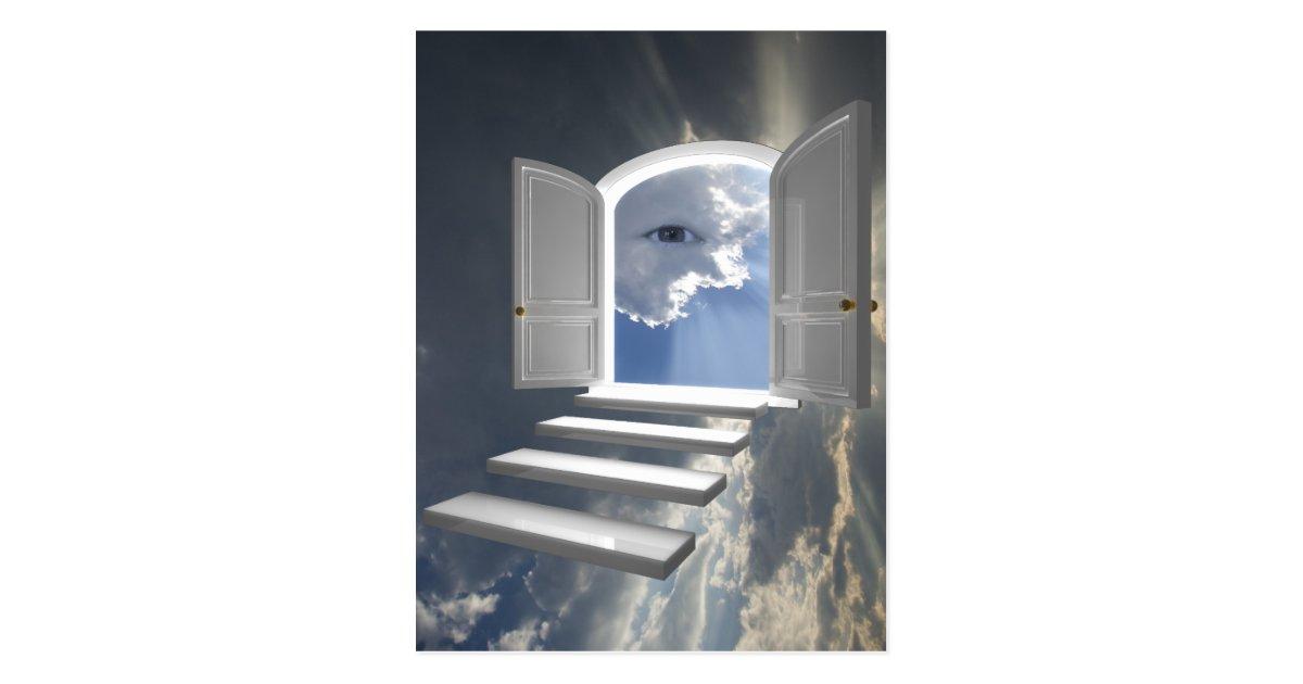 t r ge ffnet auf einem mystischen auge postkarte. Black Bedroom Furniture Sets. Home Design Ideas
