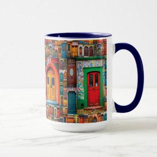 Türen der Weltinternationalen Tür-Blau-Tasse Tasse
